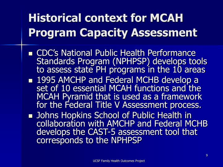 Historical context for MCAH Program Capacity Assessment