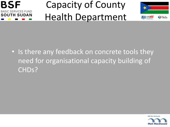 Capacity of County Health Department