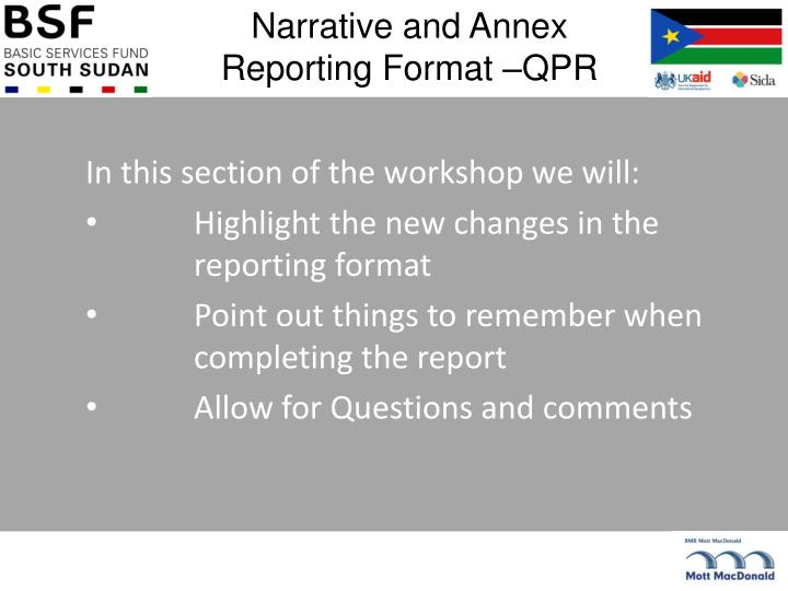 Narrative and Annex Reporting Format –QPR