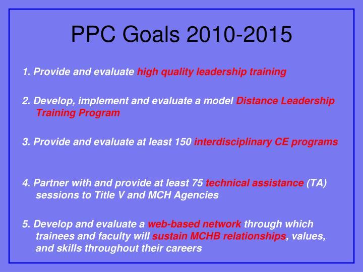 PPC Goals 2010-2015