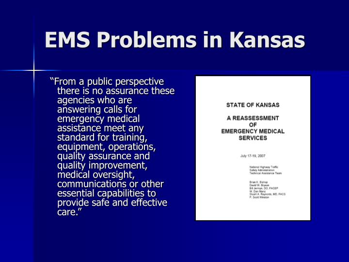 EMS Problems in Kansas