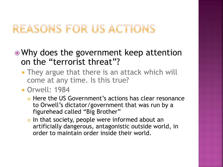 Reasons for US Actions