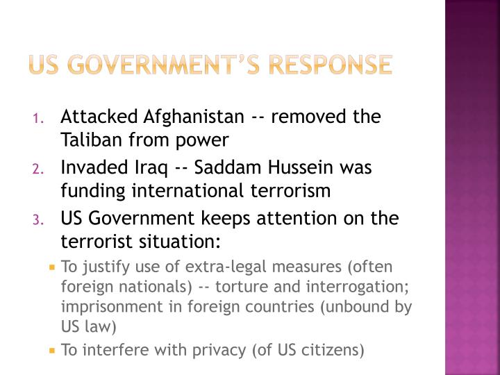 US Government's Response