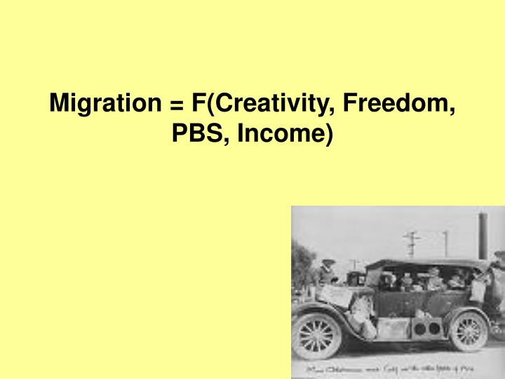 Migration = F(Creativity, Freedom, PBS, Income)
