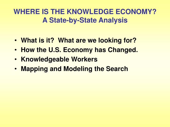 Where is the knowledge economy a state by state analysis