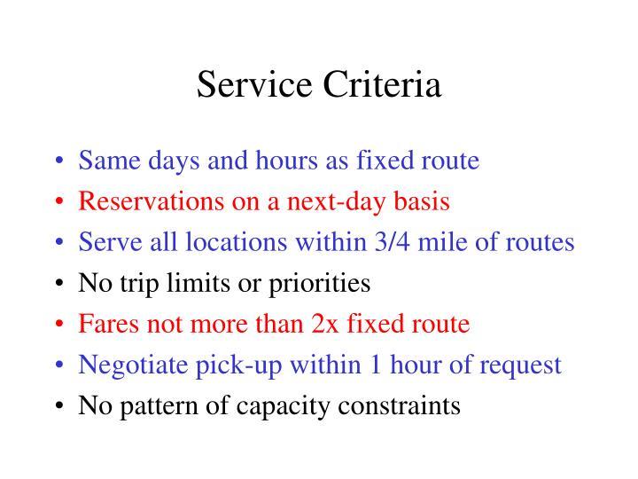 Service Criteria
