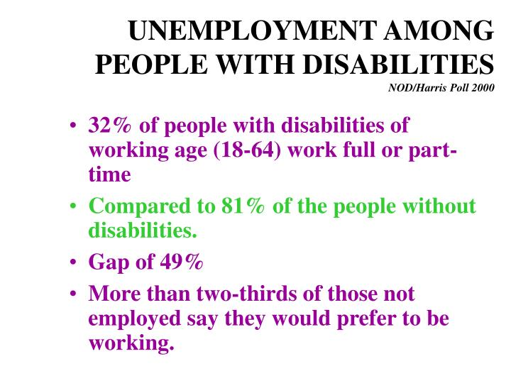 UNEMPLOYMENT AMONG PEOPLE WITH DISABILITIES