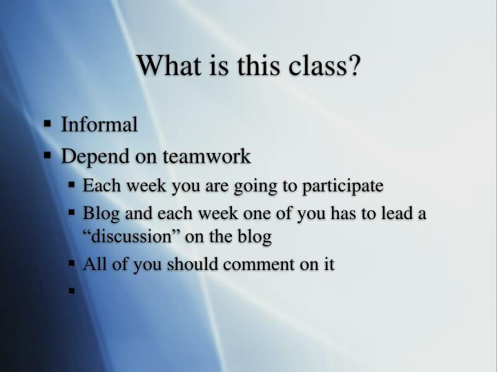 What is this class?