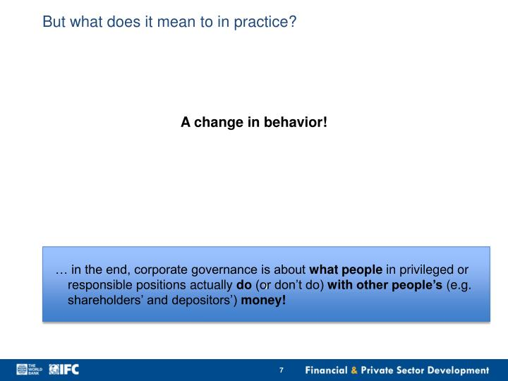 But what does it mean to in practice?