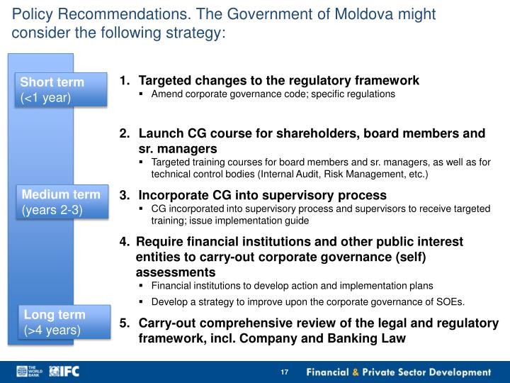 Policy Recommendations. The Government of Moldova might consider the following strategy: