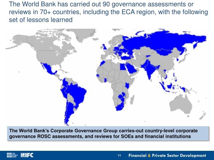 The World Bank has carried out 90 governance assessments or reviews in 70+ countries, including the ECA region, with the following set of lessons learned