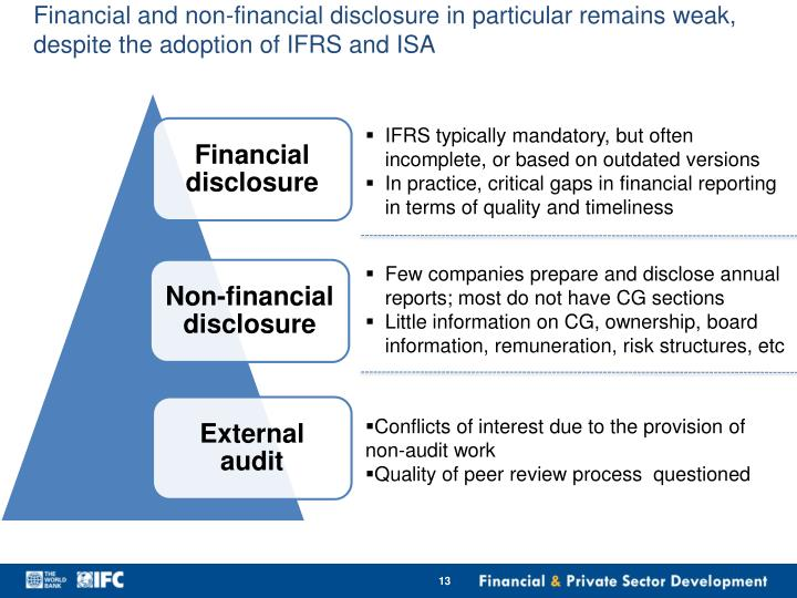 Financial and non-financial disclosure in particular remains weak, despite the adoption of IFRS and ISA