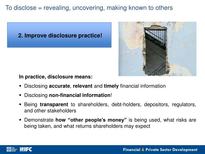 To disclose =