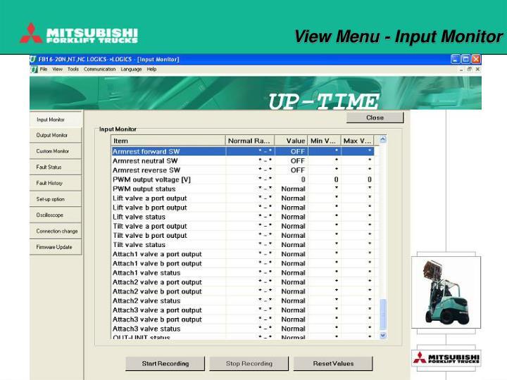 View Menu - Input Monitor