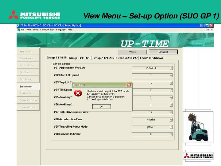 View Menu – Set-up Option (SUO GP 1)