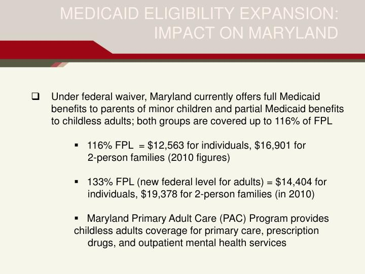 MEDICAID ELIGIBILITY EXPANSION: