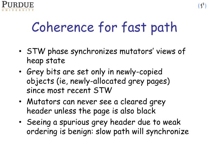 Coherence for fast path