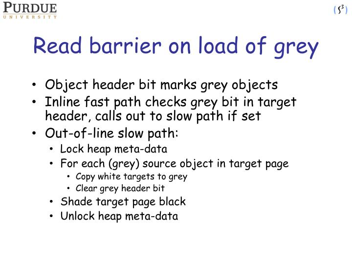 Read barrier on load of grey