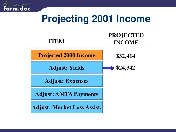 Projecting 2001 Income