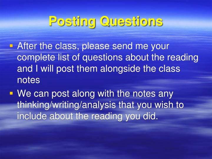Posting questions