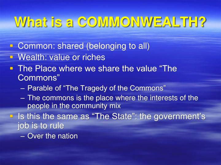 What is a COMMONWEALTH?