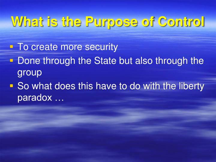 What is the Purpose of Control