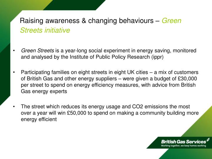 Raising awareness changing behaviours green streets initiative