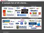 a sample list of us clients
