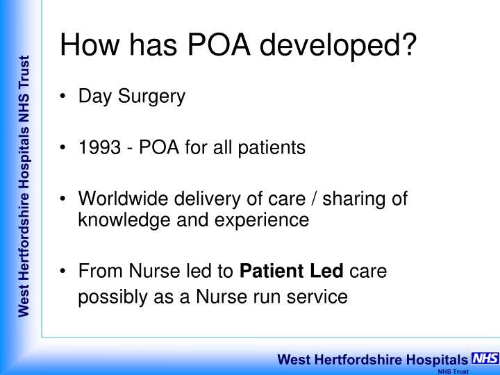 How has POA developed?