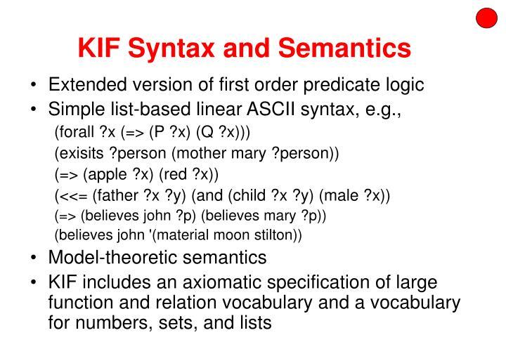 KIF Syntax and Semantics