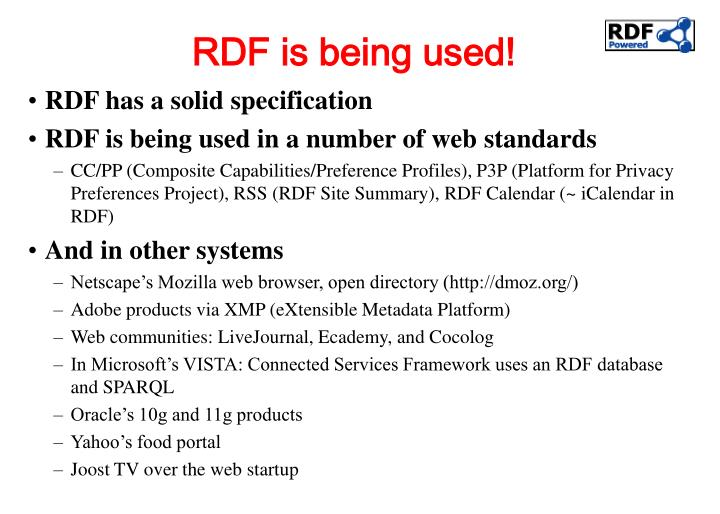 RDF is being used!