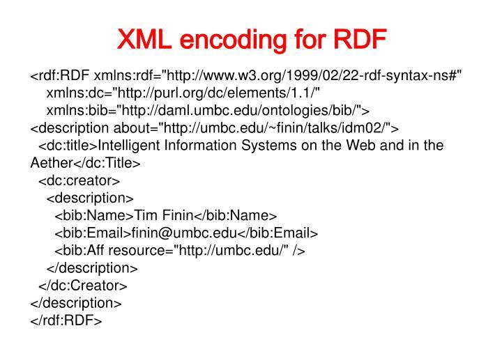 XML encoding for RDF