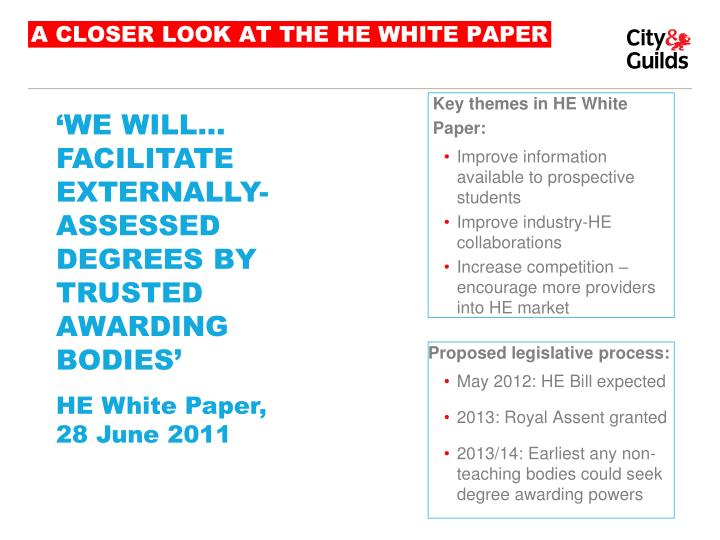 A CLOSER LOOK AT THE HE WHITE PAPER