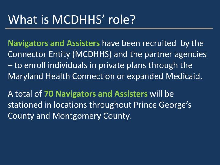What is MCDHHS' role?