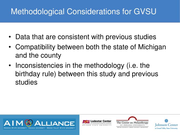 Methodological Considerations for GVSU