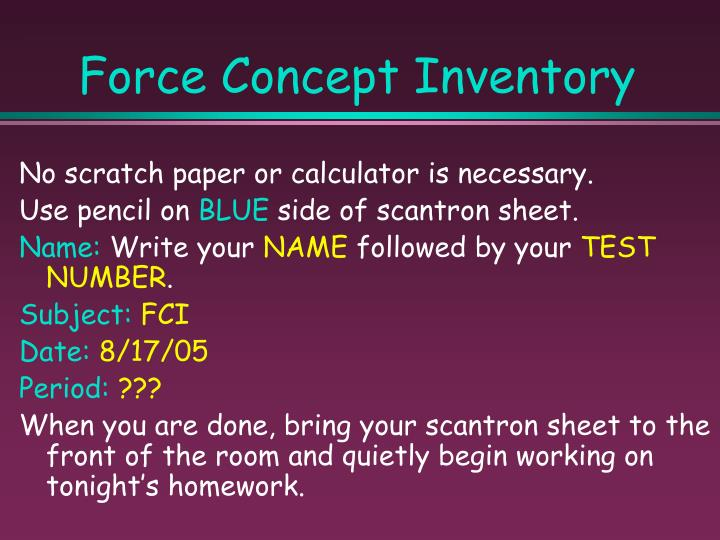 Force Concept Inventory