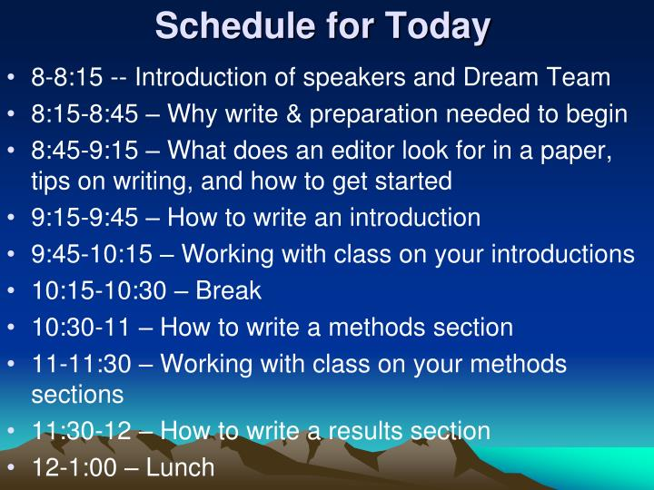 Schedule for today
