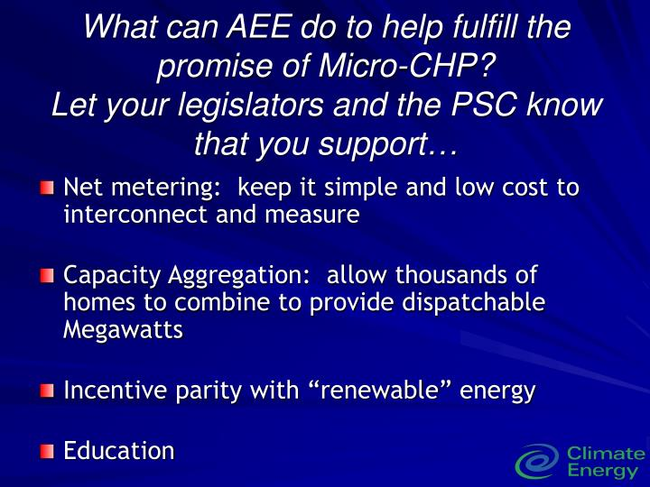 What can AEE do to help fulfill the promise of Micro-CHP?