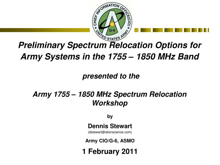Preliminary Spectrum Relocation Options for