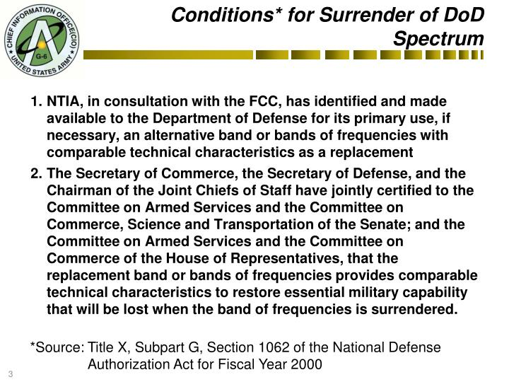 Conditions* for Surrender of DoD Spectrum