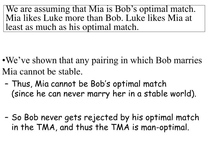 We are assuming that Mia is Bob's optimal match.