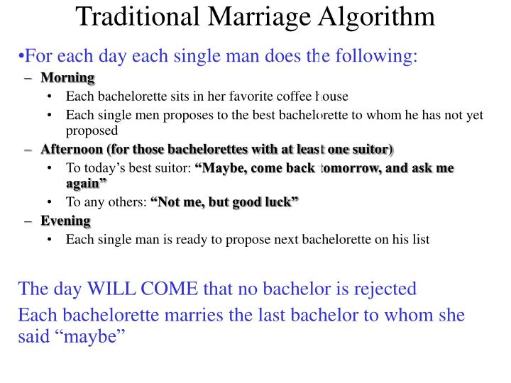 Traditional Marriage Algorithm