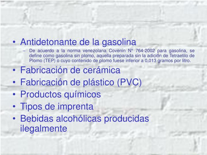 Antidetonante de la gasolina