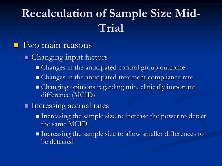 Recalculation of Sample Size Mid-Trial