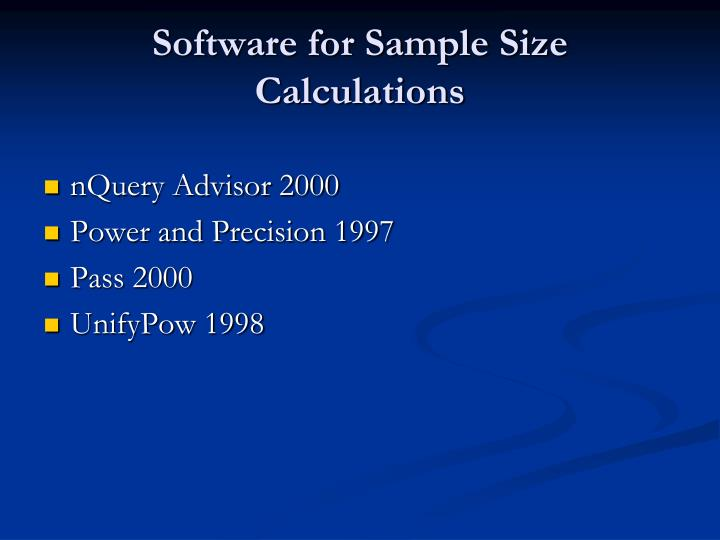 Software for Sample Size Calculations