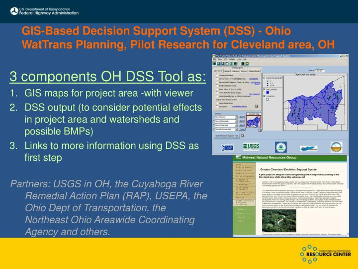 GIS-Based Decision Support System (DSS) - Ohio WatTrans Planning, Pilot Research for Cleveland area, OH