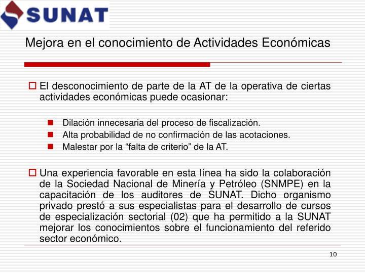 Mejora en el conocimiento de Actividades Económicas