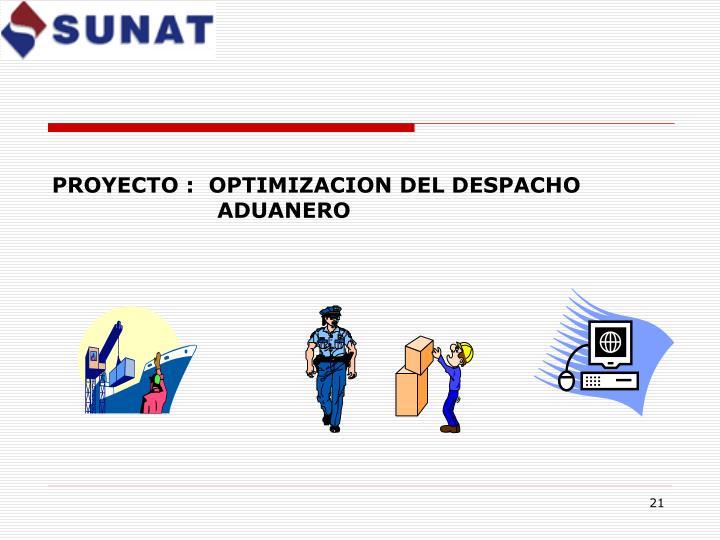 PROYECTO :  OPTIMIZACION DEL DESPACHO     ADUANERO