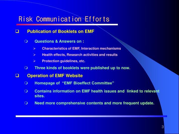 Risk Communication Efforts