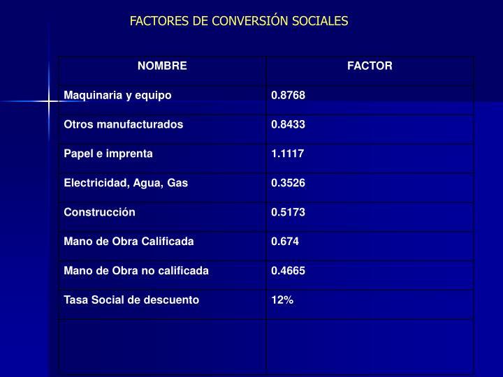 FACTORES DE CONVERSIÓN SOCIALES